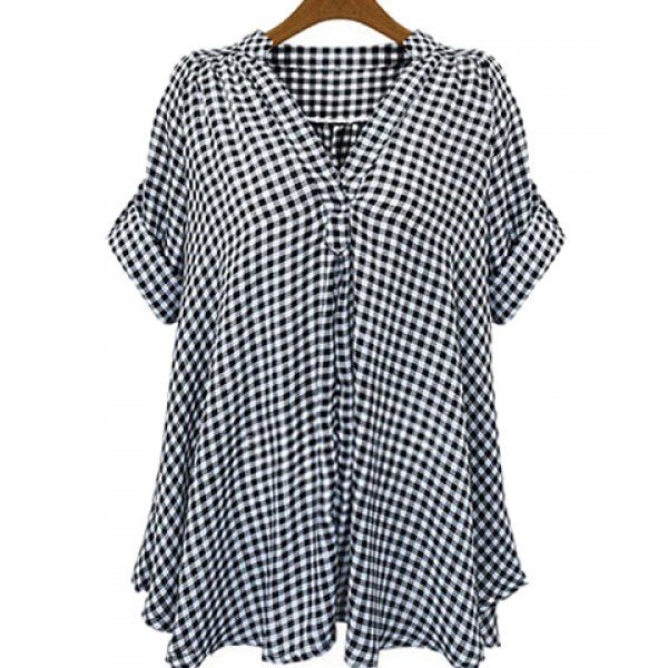 $9.99 Casual Stand-Up Collar Short Sleeve Plaid Loose-Fitting Women's Blouse