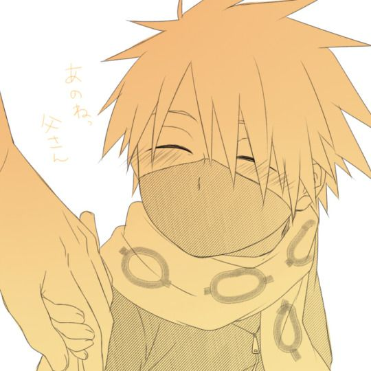 little kakashi smiling at his father.