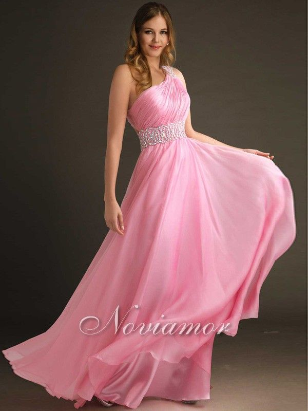 2013 Sexy Long Pink Pleated One-shoulder Celebrity Prom Dress NP1113 by Noviamor.com. Sweet pink gown features beautiful beading waistline and one shoulder design.  Chiffon. Floor Length. Fully lined. See more fashion prom dresses 2013 now: http://www.noviamor.com/prom-dresses-2013-c-36.html
