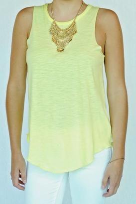 Chaser Brand Shirttail Tank - Shop for women's Shirt - Yellow Shirt