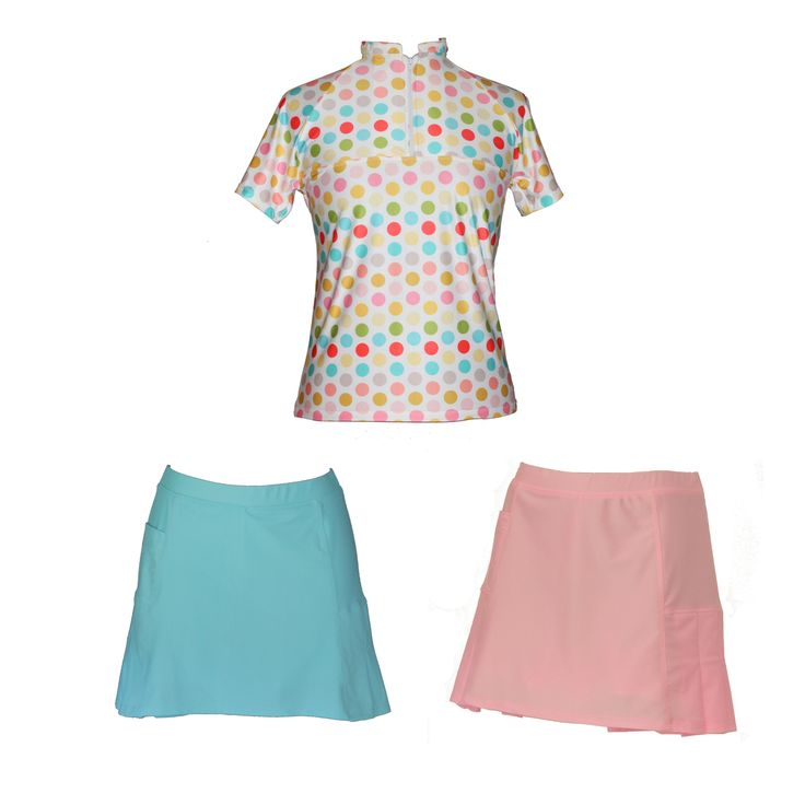 Spring Set : Fruit Delight Print, $78.00 (http://www.ladygolfwear.com.au/spring-set-fruit-delight-print/) Ladies golf top with matching skort. Choose either baby blue or baby pink.