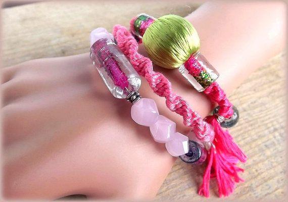A set of three bracelets. Boho style. Bohemian. by AcoyaJewellery