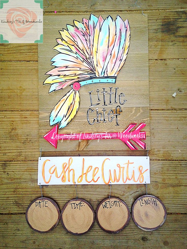 Headress/Arrow Indian inspired Nursery Door Hanger with Wooden Stats. Order yours at @lintinandwood on Facebook!