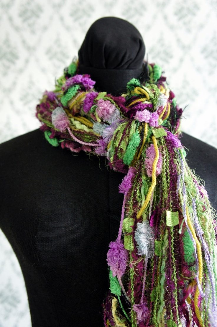 Fringe Scarf, Knotted scarf, Green and Purple Yarns. $25.00, via Etsy.
