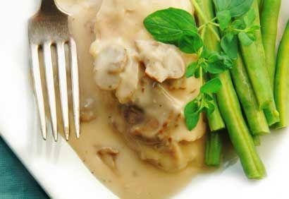 Filets de poulet, sauce crémeuse aux champignons