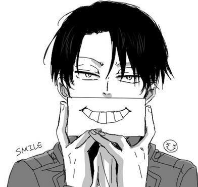 Smile, heichou! (Rivaille/Levi, Shingeki no Kyojin). Somewhat shocking to see even a fake smile lol.