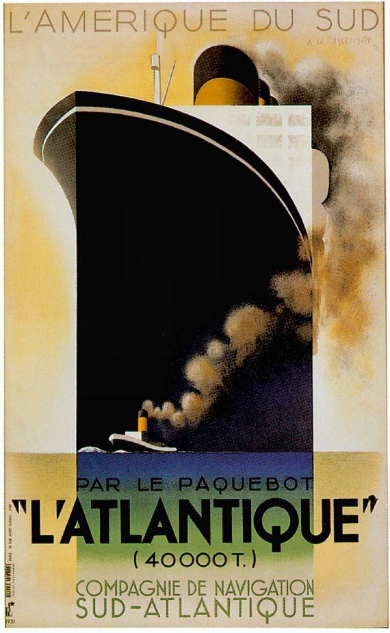 Compagnie de Navigation Sud-Atlantique shipping line poster reproduction South America South Atlantic