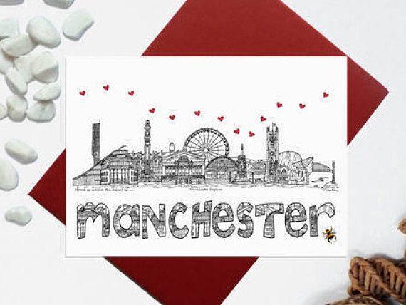 Manchester skyline card  Manchester landmark card with bee
