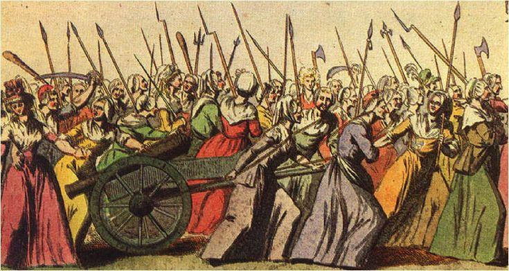 Marcha das mulheres até Versalhes, gravura, autoria desconhecida, c. 1789-1799. Museu Carnavalet, Paris.