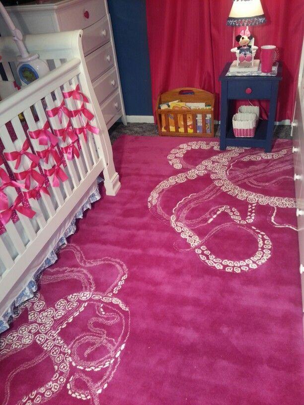 Navy And Pink Girls Nautical Nursery, Octopus Rug