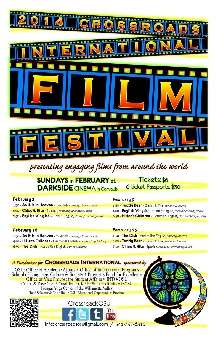 Poster for eighth annual Crossroads International Film Festival in Corvallis, Oregon.