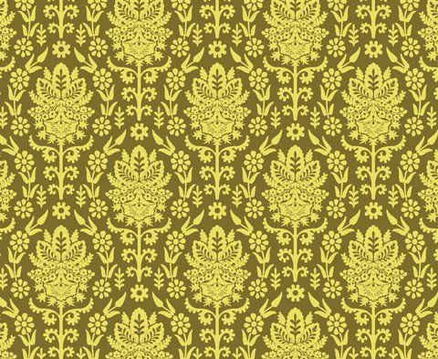 Beetle Damask </br> Butter Yellow on Lime