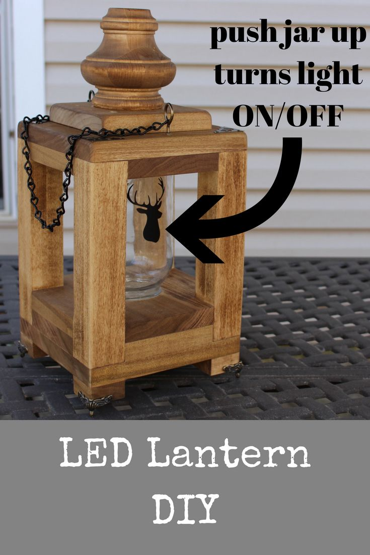 DIY Woodworking Ideas In this tutorial, learn how to make a wooden mason jar lantern. Push up on the j...