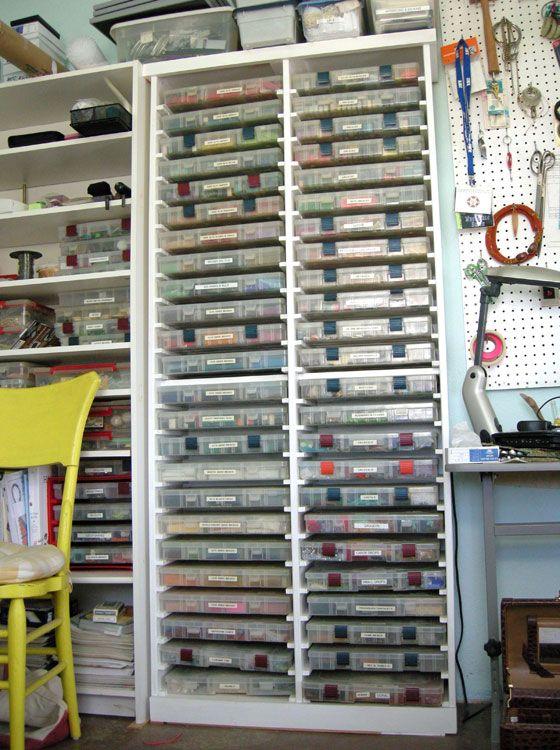Judith Bertoglio-Giffin's personal custom made bead storage cabinet with #3700…                                                                                                                                                                                 More
