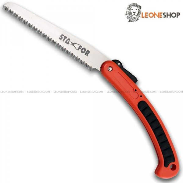 """STAFOR Garden & Pruning Folding Saw STF-164, gardening and pruning saws with Carbon Steel blade of high quality - Triple blade sharpening - Electric Induction hardened serration - Interchangeable blade - Overall lenght 7.9"""" - Ergonomic Orange Plastic handle with Rubber inserts - Design by Stafor Cutlery Maniago - STAFOR pruning & gardening saw really exceptional with quality materials and an excellent Italian design, superior quality in all the components and also in the finishes."""