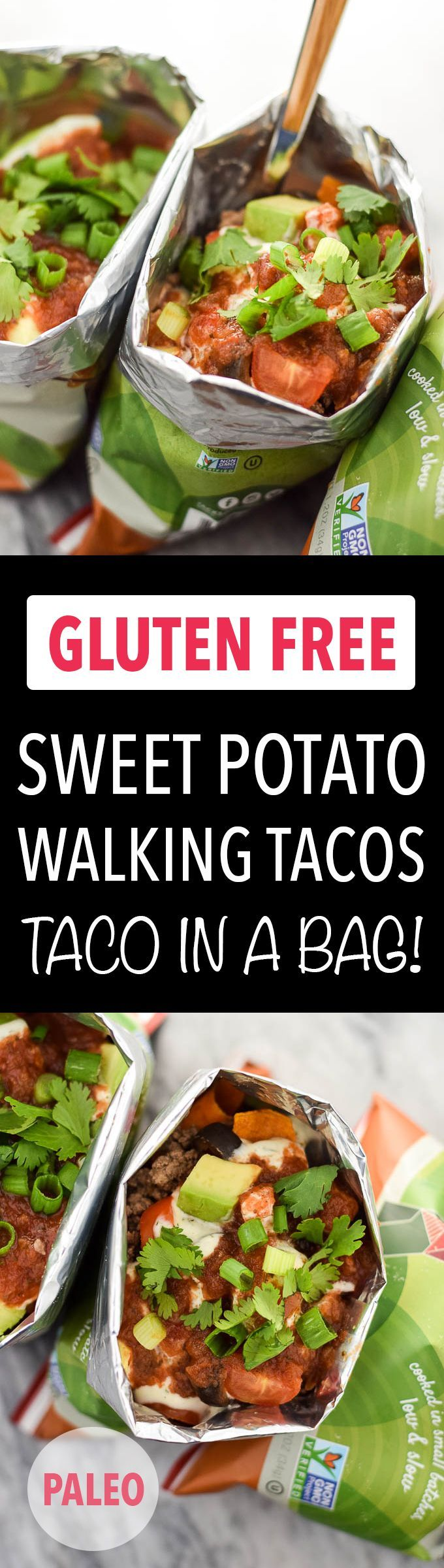 Sweet potato walking tacos are a fun, healthy meal made with crunchy sweet potato chips and your favorite taco toppings. Gluten free, Dairy Free, Paleo.