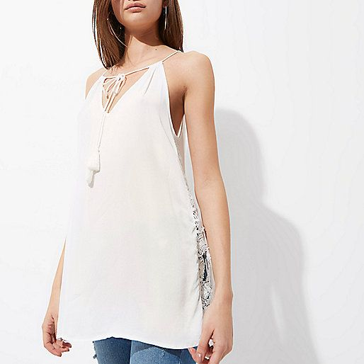 L2017 Cream lace side tie neck sleeveless top