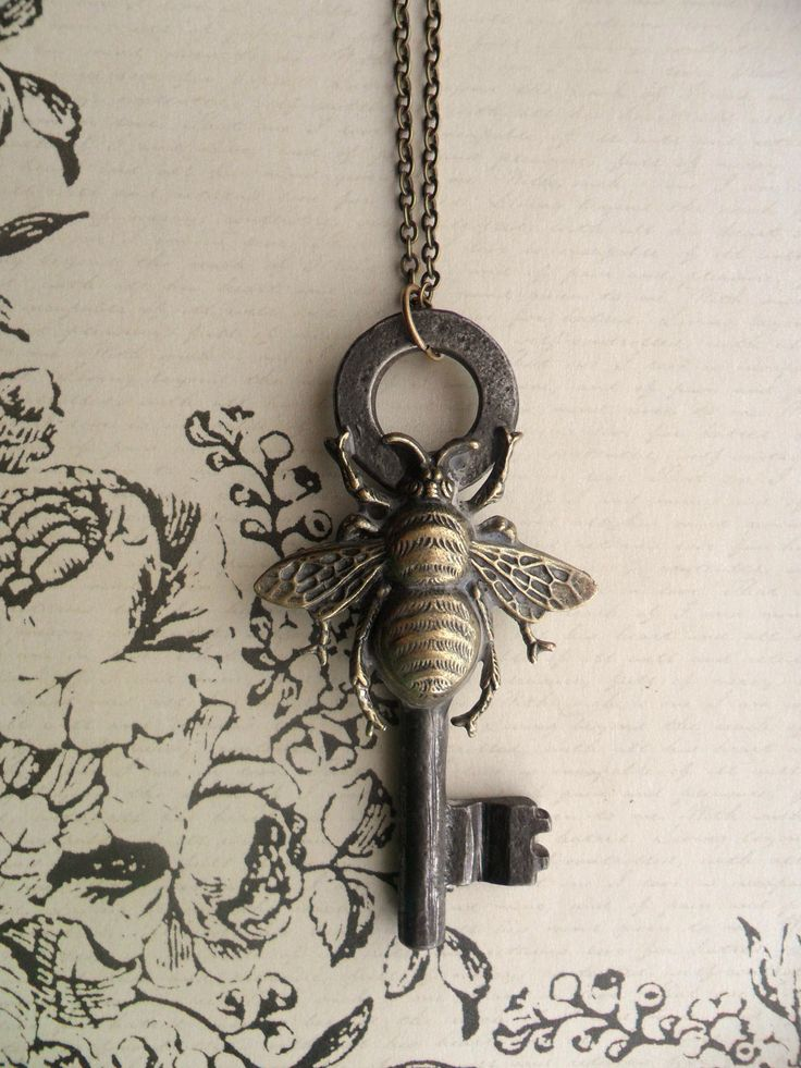 Steampunk Victorian Bee with Antique Skeleton Key Necklace. $28.00 USD, via Etsy.