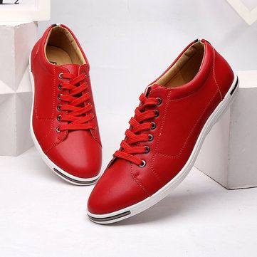 US Size 6.5-12 Lace Up Pure Color Round Toe Flat Oxfords For Men - US$41.09