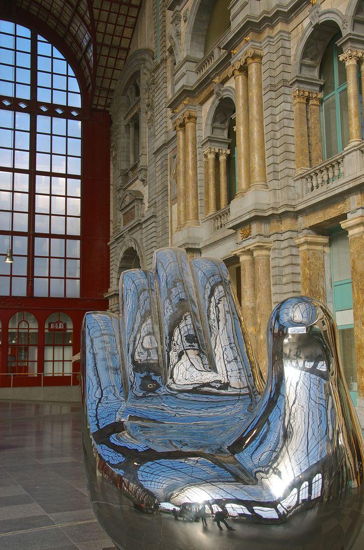Silver giant Hand sculpture Antwerp Train Station, Belgium #symbol