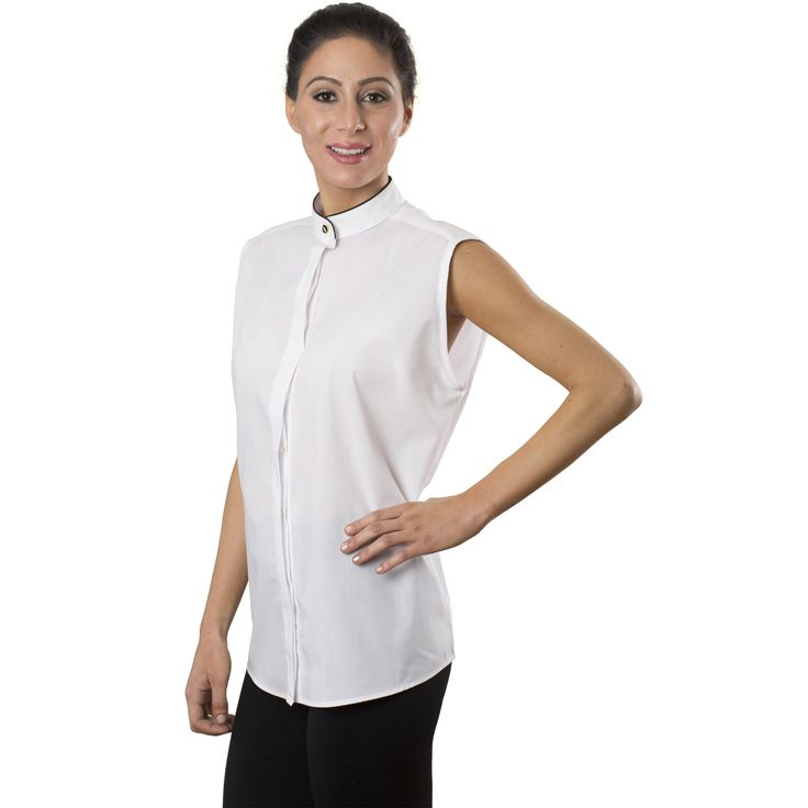 Women's White Sleeveless Banded Collar Shirt