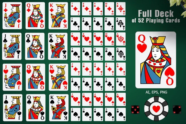 Full Deck Of 52 Playing Cards 3817 Illustrations Design Bundles In 2021 Cards Business Card Logo Playing Cards
