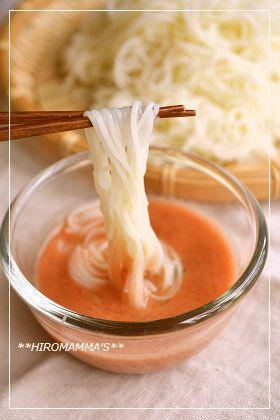 栄養満点☆トマト味の絶品そうめんです! 冷製トマトスープにめんつゆと水をプラスするだけ!簡単でおいしい・栄養も摂れて◎