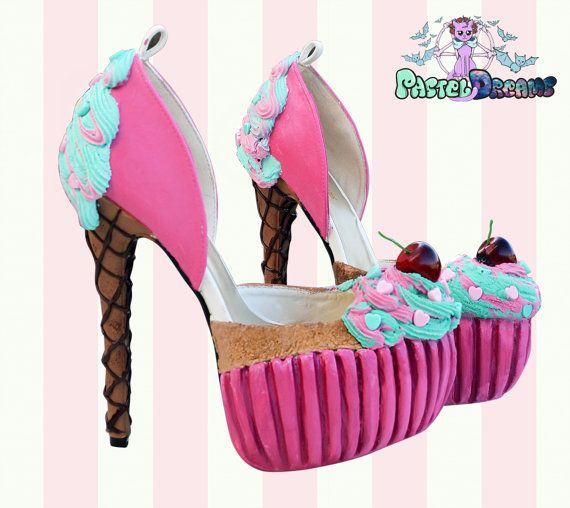 New cupcake icecream high heels one of kind and exclusively only made by pastel-dreams !! Completely hand crafted using quality heels, realistic