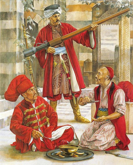 Ottoman empire and two palace guards in the late 16th century