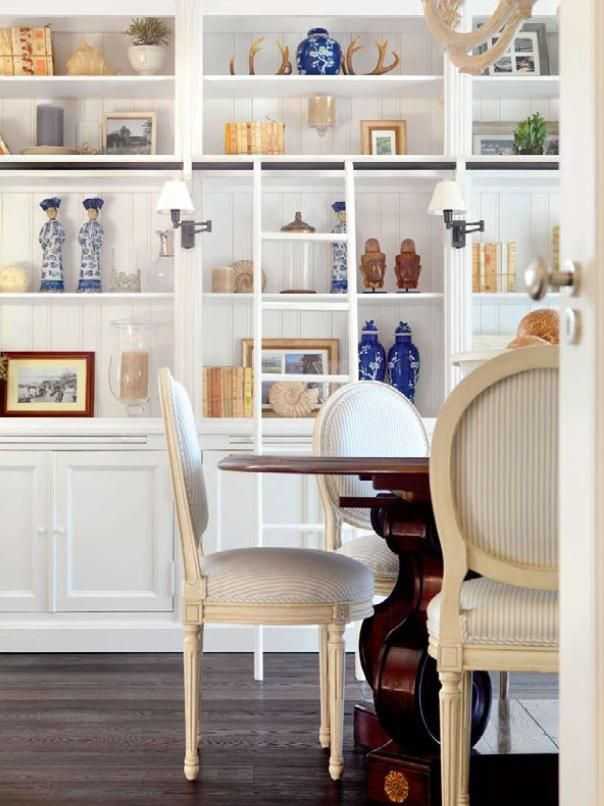 Dining Room With Bookcase : Wood Table With White Fabric Chairs :: Minnie  Peters