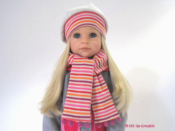 Ballonmütze+Schal+Handschuhe - Set ✿ grau-pink von © MABE la Creativ - KIDS auf DaWanda.com