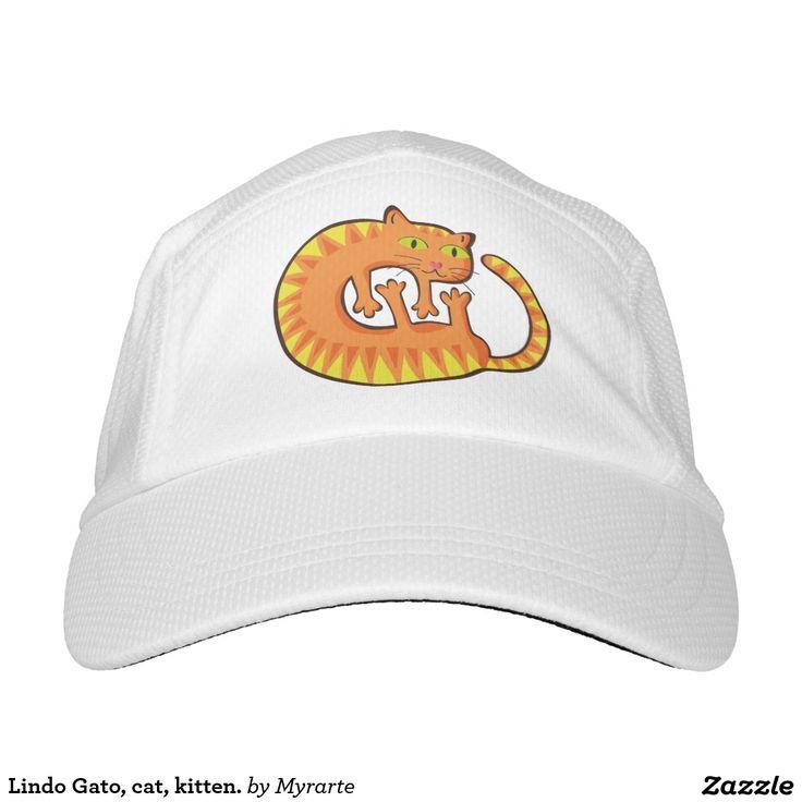 Lindo Gato, cat, kitten. Producto disponible en tienda Zazzle. Accesorios, moda. Product available in Zazzle store. Fashion Accessories. Regalos, Gifts. Link to product: http://www.zazzle.com/lindo_gato_cat_kitten_headsweats_hat-256642696724646030?CMPN=shareicon&lang=en&social=true&rf=238167879144476949 #gorra #hat #cat #gato #kitten