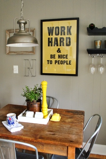 : Work Hard, Dining Rooms, Wall Colors, Be Nice, Lights Fixtures, Breakfast Nooks, Rockport Gray, Wood Tables, Young Houses