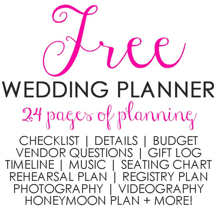 Free 24 Page Printable Wedding Planner  wedding checklist, details, wedding budget, questions to ask wedding vendors, shower and party gift log, wedding day timeline, wedding music plan, seating chart, rehearsal dinner plan, gift registry tracking and checklist, photography details, videography details, honeymoon plan and more!!   www.jenniferhamric.com