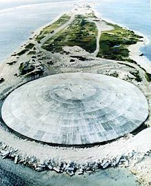 Enewetak Atoll - Runit nuclear shield dome.