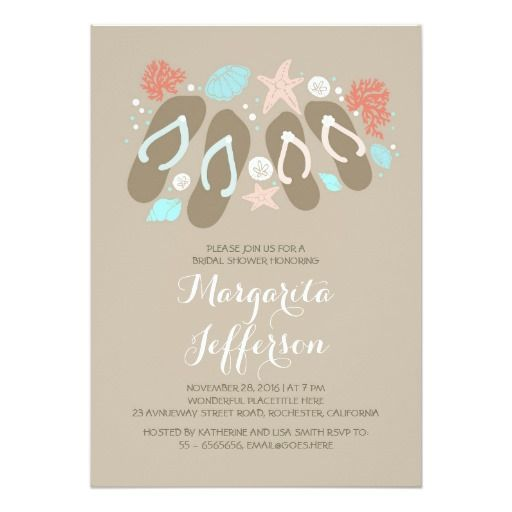 271 best beach bridal shower invitations images on pinterest cute flip flops beach bridal shower invites filmwisefo Choice Image
