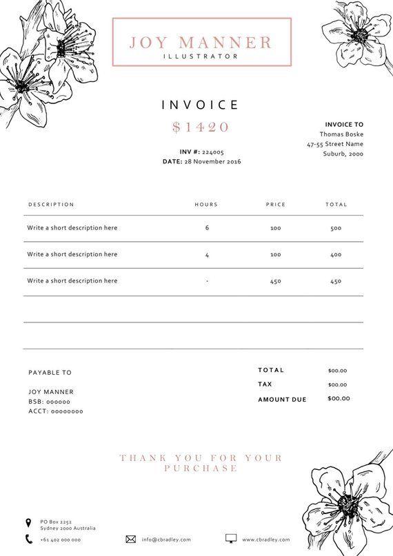 Invoice Template Receipt Template Invoice Design Etsy Invoice Design Template Invoice Design Invoice Template