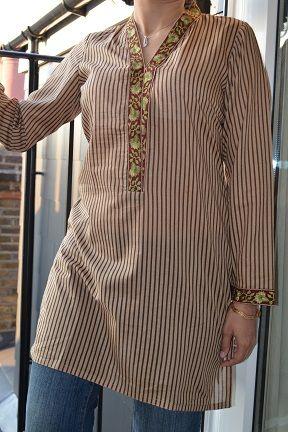 Striped Brown Pakistani Kurti