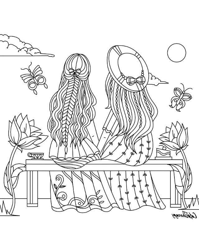 Color Therapy Coloring Pages RA3M Girls Sitting On A Bench