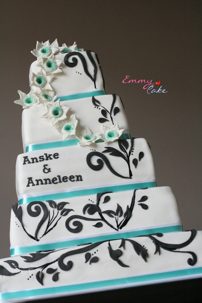 wedding cakes with names white teal and black wedding cake i like the names 26060
