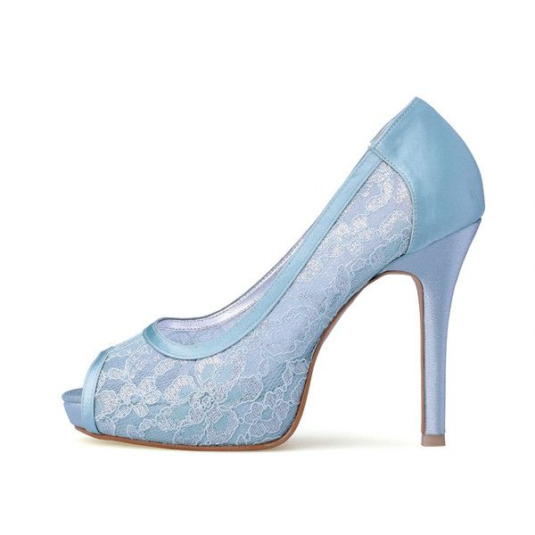 Something Blue Wedding Heels Blue Lace Bridal Peep Toe Heels Powder... ($90) ❤ liked on Polyvore featuring shoes, pumps, platform shoes, lace pumps, blue wedding shoes, high heel pumps and evening bridal shoes