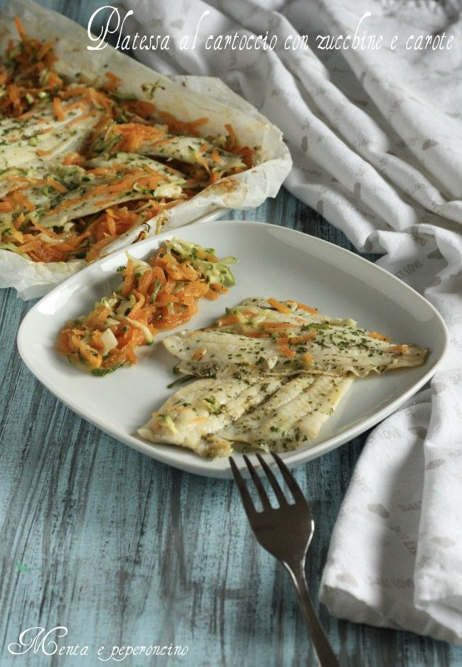 Platessa al cartoccio con zucchine e carote