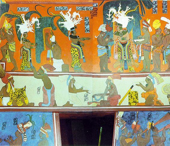 Ber ideen zu azteken tattoo auf pinterest maya for Bonampak mural painting