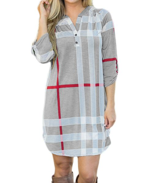 Gray Plaid Roll up Sleeves Arched Hemline Dress