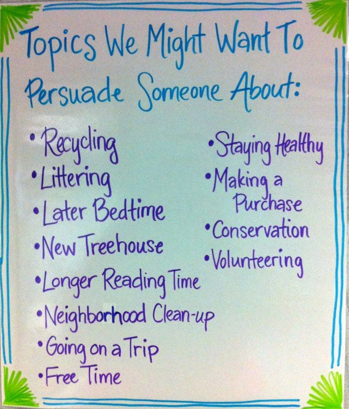 6th grade persuasive essay topics