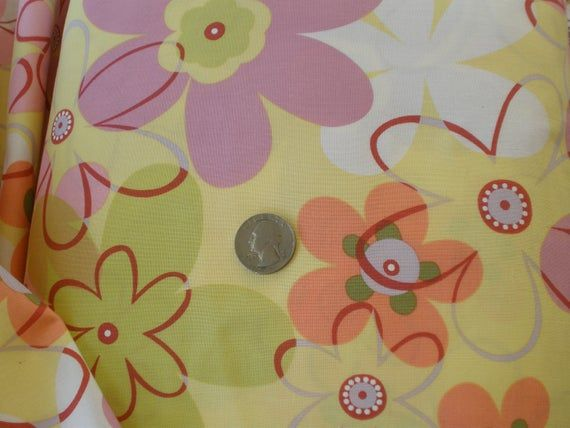 Funky Flower OOP Fabric by Michael Miller BTY 44″W yardage 100% cotton Quilting Sewing pastel yellow