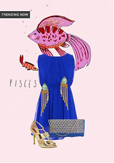 Solids Blue Dresses, Blue Clutches with Gold Sandals. Online shopping look by Tarannum