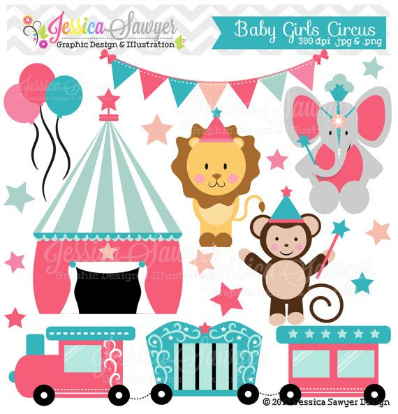 INSTANT DOWNLOAD, baby girl circus clipart, circus vectors, train clip art, for…
