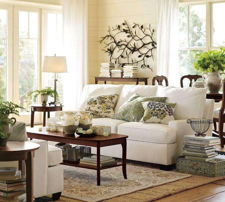decoration white cream yellow paint wall color pottery barn decorating ideas living room with white sofa brown wood table on brown rug area at enchanting