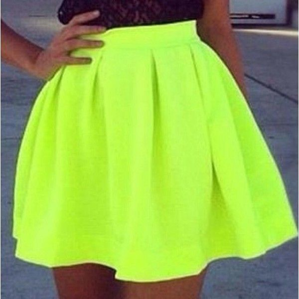 neon lime green flare skirt. skirt Outfits Hunter ($21) ❤ liked on Polyvore featuring skirts, green skirt, neon skater skirt, circle skirt, flared skirt and neon skirt